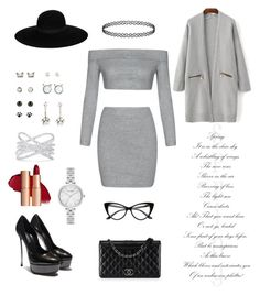"""""""Grey&silver&black"""" by insomnia96 on Polyvore featuring Chanel, Effy Jewelry, Maison Michel and Kate Spade"""