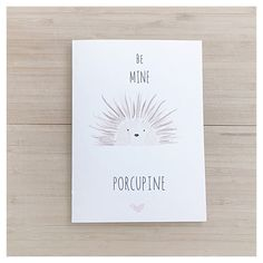 BE MINE PORCUPINE - Handmade Watercolour and Ink Greeting Card - Forest Animals, Love, Valentine's Day, Friends, Cute, Whimsical, Simple by kenziecardco on Etsy https://www.etsy.com/listing/255445001/be-mine-porcupine-handmade-watercolour