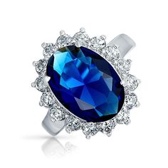 Bling Jewelry Kate Middleton 925 6CT CZ Colore Zaffiro Anello di fidanzamento