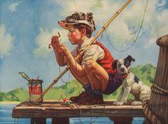 Un petit garçon à la pêche avec son chien.