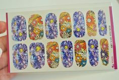 colorful floral water transfer nail wraps by GlamourFavor on Etsy