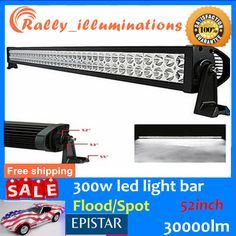 "52""300W FLOOD/SPOT COMBO LED Work Light Bar Offroad Driving Lamp Boat 4D Optical"