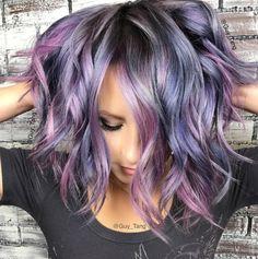 Metallic Hair Color, Hair Color Purple, Fall Hair Colors, Beleyage Hair, New Hair, Prom Hair, Lavender Hair, Lilac Hair, Long Curly Hair