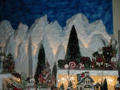 Styrofoam Village Displays | Carved styrofoam Dept 56 Christmas Village Display