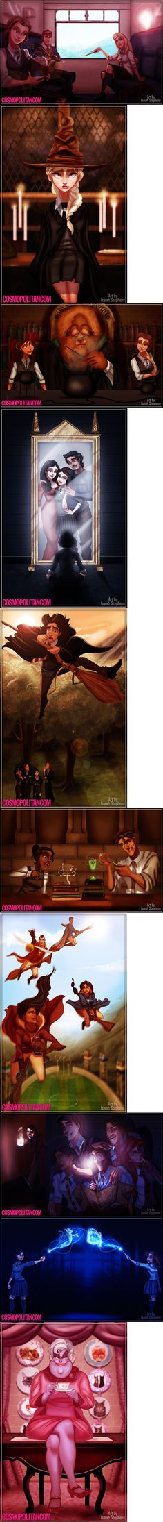 If Disney Princesses Went To Hogwarts