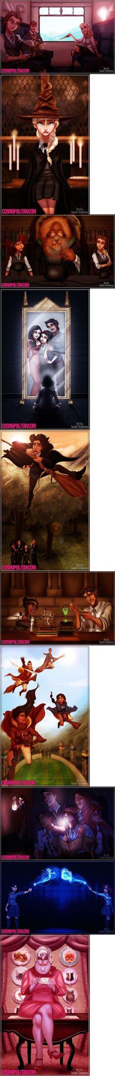 If Disney Princesses Went To Hogwarts