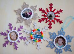 """gliter and glue photo ornaments/decorations.  Easy to make and pretty, could be done for almost any holiday/season - I'm thinking leaves or pumpkins in fall tones for a """"thankfulness garland"""" at thanksgiving.  Or the same in pinks and reds with hearts at Valentines."""