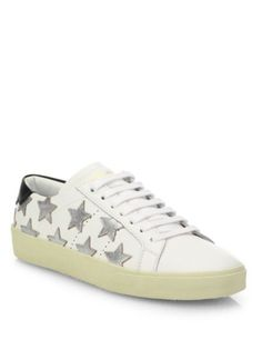 Saint Laurent - Court Classic Metallic Star Leather Sneakers