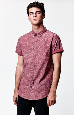 Hooked on Wayne Speckled Short Sleeve Button Up Shirt that I found on the PacSun App Mens Button Up, Short Sleeve Button Up, Button Up Shirts, T Shirt And Jeans, Look Cool, Fashion Looks, Men Fashion, Casual Outfits, Men's Outfits