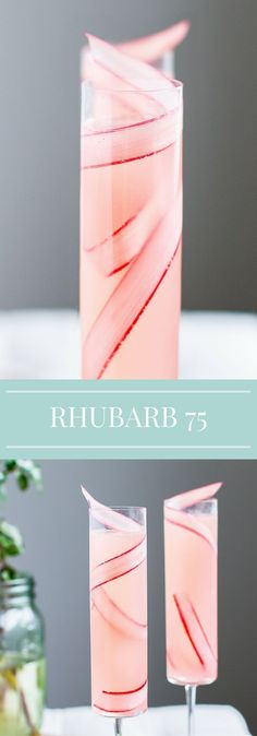 Rhubarb Cocktail   French 75   Spring Recipe   Champagne   Mother's Day   Brunch Drinks #cocktaildrinks #cocktailrecipes
