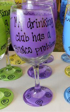 **This glass can be made with your choice of wording (ex: kickball, softball, etc)** Beautifully handpainted extra large Wine Glass or 19 Funny Wine Glasses, Bunco Ideas, Pink Blue, Yellow, Cricut Air, Paint Designs, Softball, Diy Ideas, Drinking