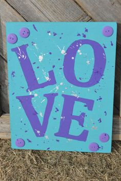 Light Blue Love Wooden Sign by TwinseyWhimsy on Etsy, $15.00