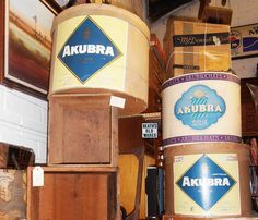akubra boxes $150 - $180 for sale at Heaths Old Wares Collectables Industrial Antiques 12 Station Street Bangalow NSW 2479 Open 7 Days 9am - 5pm ph 02 6687 2222