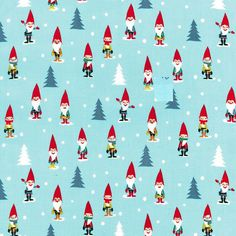 Michael Miller Christmas Holiday Collection 2013 Fabric Many Mini Gnomes With Xmas Trees on Light Blue