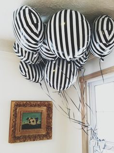 Have you ever seen a classier balloon? These striped mylar balloons are a Bonjour F'éte favorite. Spruce up your party with a graphic eye-catching pattern thanks to these Black Striped Mylar Balloons! These pair perfectly with any party theme or c. Lose Yourself, Black White Stripes, Black And White, Black White Parties, Bold Stripes, Vertical Stripes, Mylar Balloons, White Balloons, Latex Balloons