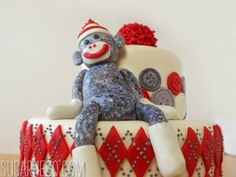 sock monkey cake   Sock Monkey Cake   SugarHero.com