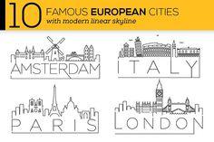 10 European Cities Linear Skyline ~ Icons on Creative Market