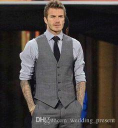 Custom Made 2015 Mens Wedding Vest Hot Sale Good Design Grey Groom Groomsmen Vest Casual Slim Men's Vest ( Vest+Tie)