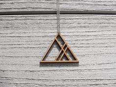 Geometry lasercut mdf triangle necklace