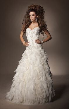 Gorgeous A-line Sweetheart Floor-length Ruffles Wedding Dress. Would love in a high-low!