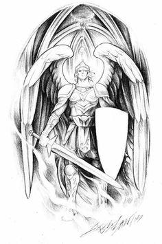 Jesse Santos - Book of angels Body Art Tattoos, Sleeve Tattoos, Archangel Michael Tattoo, Gardian Angel, Warrior Drawing, Angel Drawing, Desenho Tattoo, Tattoo Stencils, Angels And Demons