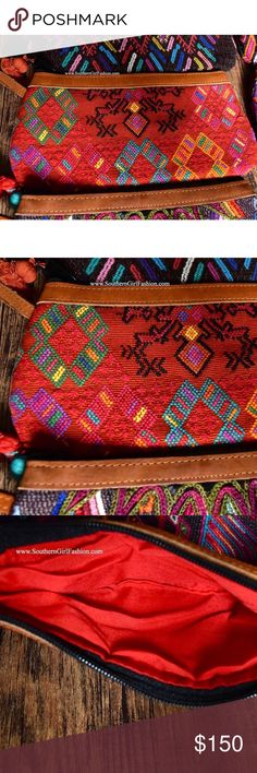 ETHNIC WRISTLET Distressed Leather Patchwork Bag Brand New.  • Beautiful tribal wristlet bag featuring handmade ethnic embroidered patchwork detailing & tassel pom pom accent on zipper.  • Real distressed leather trimming along upper & wrist strap with full top zip closure. • Interior is fully lined.  • Each is unique, classic & one of a kind. • Measurements provided in comment(s) section below.   {Southern Girl Fashion - Boutique Policy}   ✔️ Same-Business-Day Shipping (10am CT). ✔️ Price…