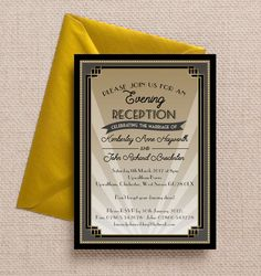 Art Deco Evening Reception Invitation. Printable PDF or professionally printed. Personlise online.
