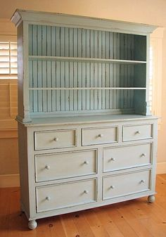 Painted hutch with beadboard backing and open shelves ~ Beautiful! -- considering adding beadboard to the back of my hutch and repainting