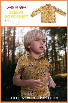 Long or Short Sleeve Boys Shirt FREE sewing pattern (6mths-2T). This awesome FREE pdf pattern comes in five sizes while there are other sizes available in the designer's shop. This fantastic Boys Shirt sewing pattern has both a long sleeve and short sleeve version. Boys Sewing Patterns, Sewing For Kids, Free Sewing, Free Pattern Download, Long Sleeve And Shorts, Kids Tops, Modern Kids, Boys Shirts, Kids Outfits