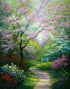 Painted by Charles White, the Spring Blossoms wallpaper mural features a winding path through a beautiful garden. Beautiful blossoms in pink, green, red, and yellow will add a calming element to any space. Free US shipping. Spring Landscape, Landscape Art, Landscape Paintings, Landscape Design, Beautiful Paintings, Beautiful Landscapes, Beautiful Gardens, Nature Pictures, Beautiful Pictures