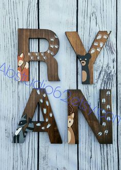 The price of the listing is for INDIVIDUAL LETTERS. When ordering please select the quantity of letters in the NAME, then include the name in the note to seller section of the checkout page. Natural Pine 8 Wooden letters, which are hand stained on all sides with a Walnut Stain. Then, a