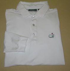 Bobby Jones AUGUSTA NATIONAL GC  Long Sleeve Golf Shirt Size L - White - MASTERS #BobbyJones #PoloRugby