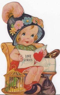 """Vintage """"Love Lyrics"""" Valentine."""