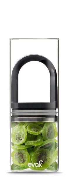 Prepara EVAK Glass Food Storage Container with Gloss Black Handle, 1-Pound: Kitchen & Dining
