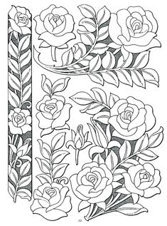 Best embroidery rose pattern coloring pages Ideas Leather Carving, Leather Art, Leather Tooling, Pattern Coloring Pages, Flower Coloring Pages, Rose Embroidery, Embroidery Patterns, Leather Working Patterns, Carving Designs