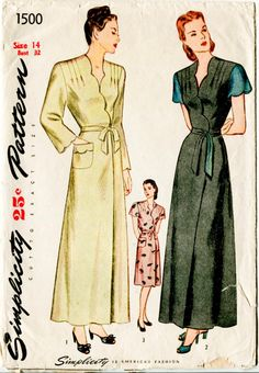 1940s Simplicity 1500 women's vintage sewing pattern scallop edging wrap dress robe dressing gown bust 32 b32