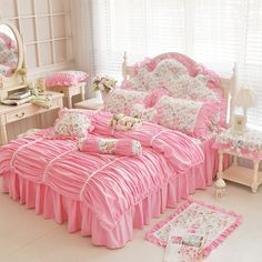 Find More Information about Home girls sweet princess lace bedding 4pcs set kids baby home bedding kit pink polka bedskirt dreaming Korean ruffle lace  set,High Quality skirt bikini,China bedding hotel Suppliers, Cheap bedding set queen size from Queen King Bedding Set  on Aliexpress.com