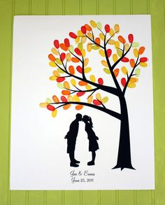 Silhouette Fingerprint Tree Wedding Guest Book