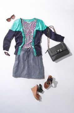 Summer Work Style: Color-block cardigan & pleated skirt