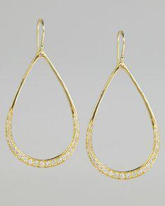 Stardust Elliptical Gold Pave Teardrop Earrings by Ippolita at Neiman Marcus.