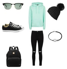 """""""Mint and black"""" by laurencianna on Polyvore featuring Ray-Ban, Topshop, Boohoo, Converse, Black and Alex and Ani"""