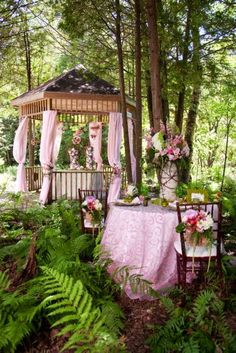 Pink woodland tea party