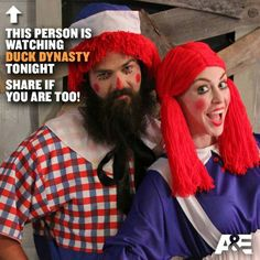Jep and Jessica Halloween Willie Robertson, Robertson Family, Jep And Jessica, Justin Martin, Duck Calls, Duck Commander, Raggedy Ann And Andy, Couple Halloween Costumes, Halloween 2013