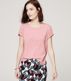 Image of Piped Tee color Mellow Pink