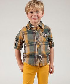 Look what I found on #zulily! Mustard Plaid Button-Up - Toddler & Boys #zulilyfinds