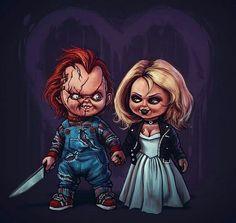 Horror Movie Art : Bride Of Chucky 1998 by Samhain Horror Movie Characters, Best Horror Movies, Iconic Movies, Scary Movies, Comedy Movies, Zombie Disney, Halloween Horror, Halloween Art, Chucky Tattoo
