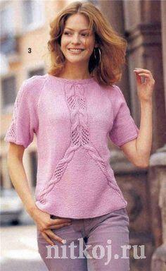 Розовый пуловер – реглан спицами