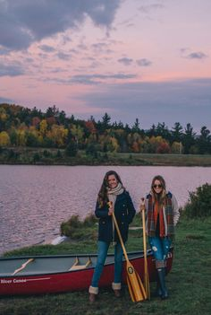 10.16 morning canoe on blueberry lake (French Connection wool-blend peacoat + Sandra plaid 'boyfriend' tunic + denim jeans + UGG 'chyler' boots)