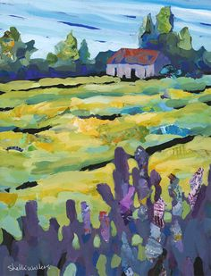 Lupine Hay Field Farm Original Painting
