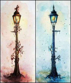 Once a King or Queen of Narnia, always a King or Queen of Narnia. Narnia Lamp Post, Aslan Narnia, Narnia Wardrobe, Chronicles Of Narnia, Art Drawings Sketches, Art Inspo, Watercolor Paintings, Watercolour, Fantasy Art
